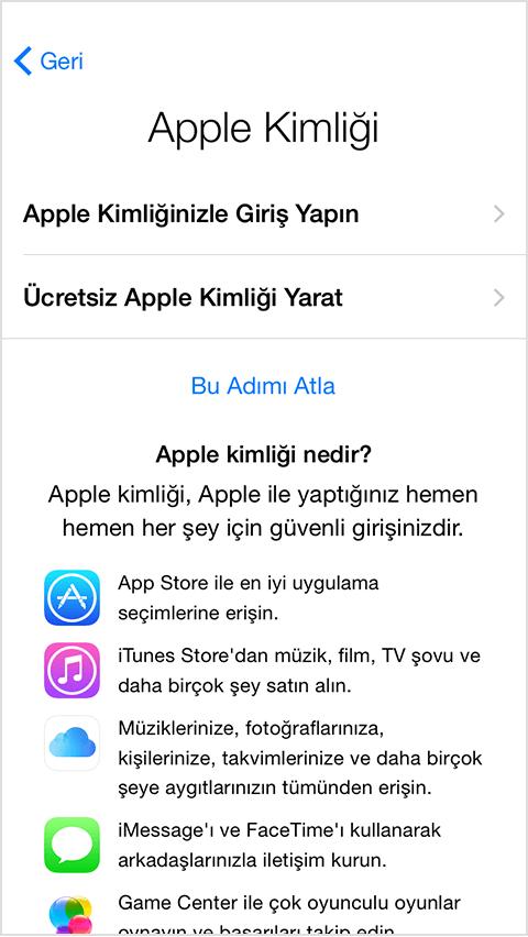 apple kimliği yarat
