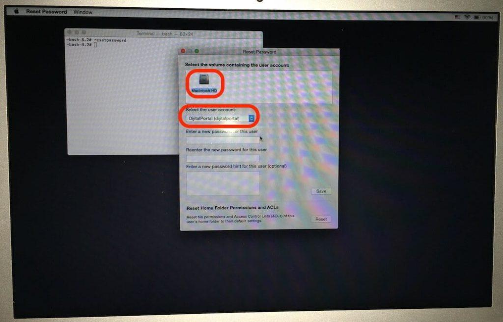 Mac şifremi unutum, Nasıl sıfırlarım, Mac kullanıcı hesapı parola sıfırlama, resetpassword