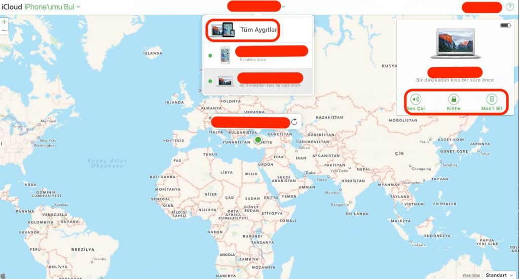 iPhone'umu Bul, Find My iPhone, Mac'imi bul, Find My Mac , Kaybolan maci bulmak