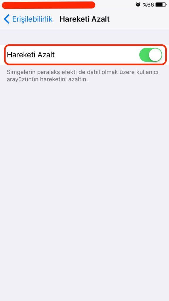 iPhone Hareketi Azalt