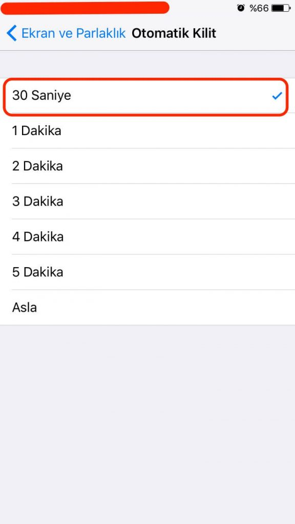 iPhone Otomatik Kilit