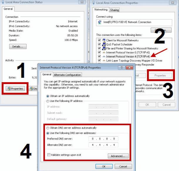 Windows DNS ayarları