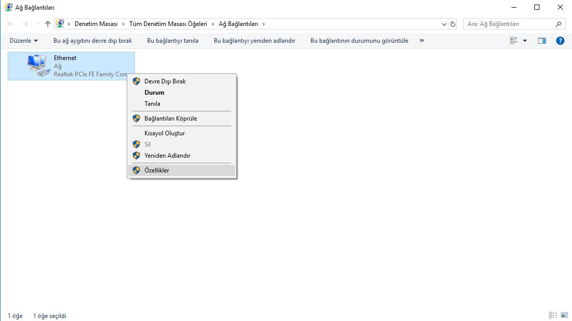dns-degistirme-windows-10