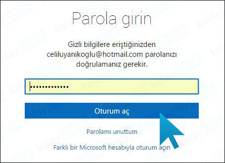 hotmail-sifre-degistirme-linki