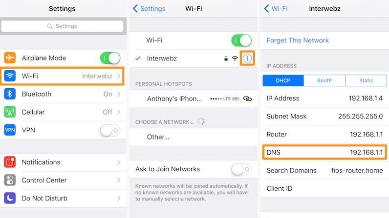 iPhone DNS ayarları