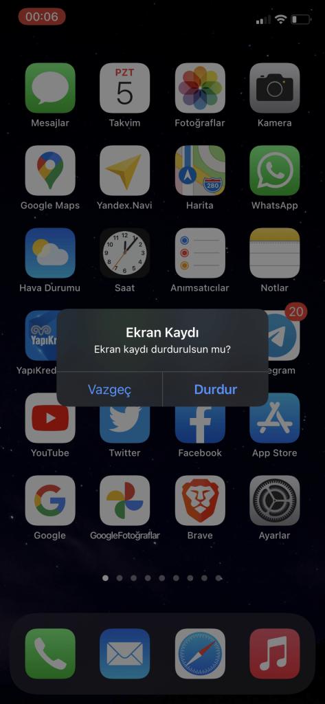 iPhone ekran kaydı – 1