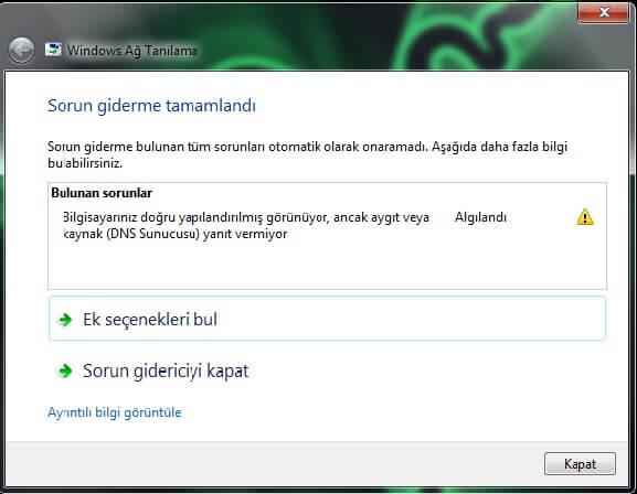 Windows DNS Sunucusu Yanıt Vermiyor Hatası